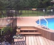 wood deck treated trex azek composite pool deck with steps
