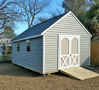 10x20 Gable shed with 912 roof pitch, ramp, window and vinyl siding built in Virginia by Sheds by Ken