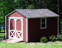 8x12 Gable shed with 5/12 roof pitch, ramp, window and SmartSide wood siding built in Virginia by Sheds by Ken
