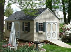 12x20 Gable shed with 9/12 roof pitch, windows, two doors and vinyl siding built in Virginia by Sheds by Ken